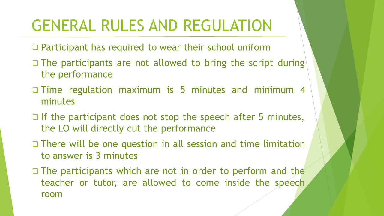 GENERAL RULES AND REGULATION