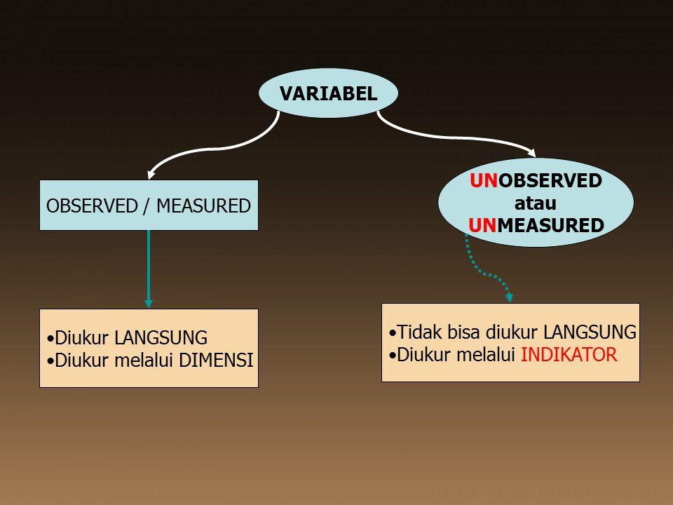 VARIABEL UNOBSERVED. atau. UNMEASURED. OBSERVED / MEASURED. Tidak bisa diukur LANGSUNG. Diukur melalui INDIKATOR.