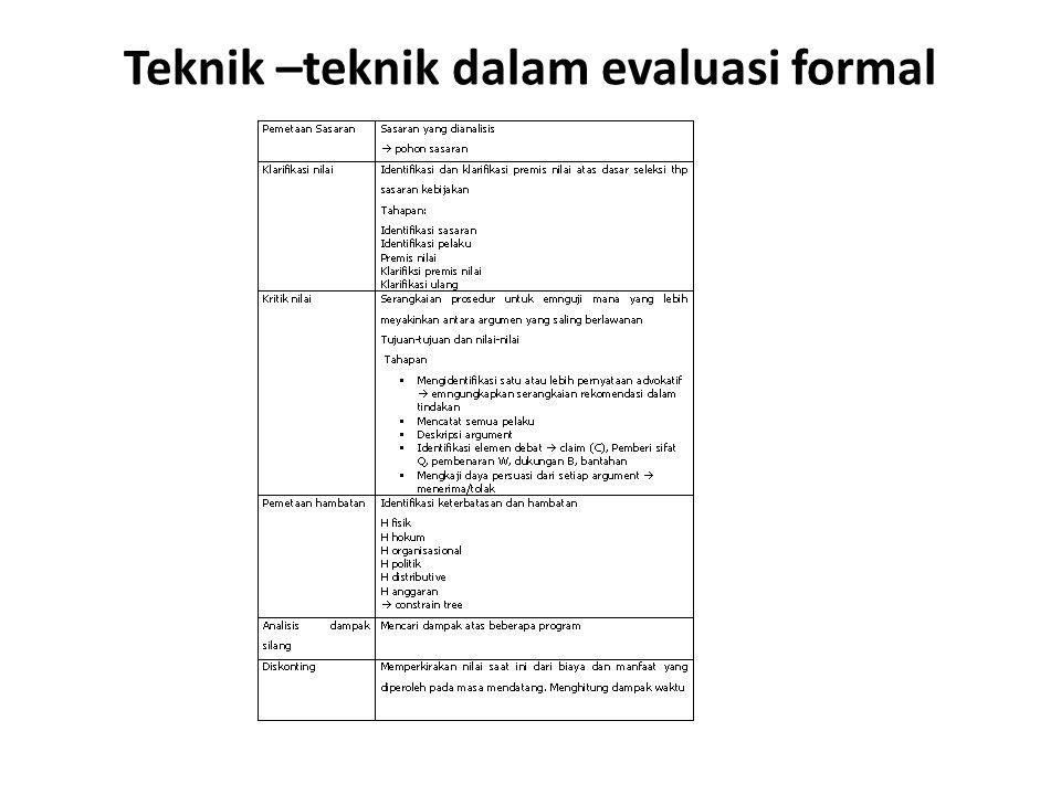 Teknik –teknik dalam evaluasi formal