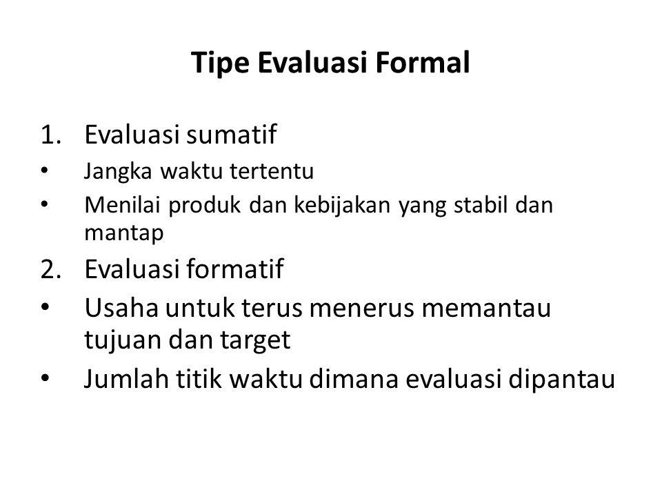 Tipe Evaluasi Formal Evaluasi sumatif 2. Evaluasi formatif