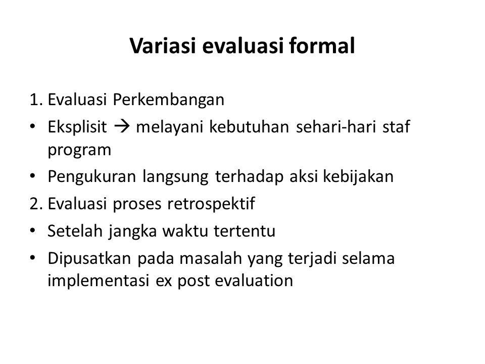 Variasi evaluasi formal