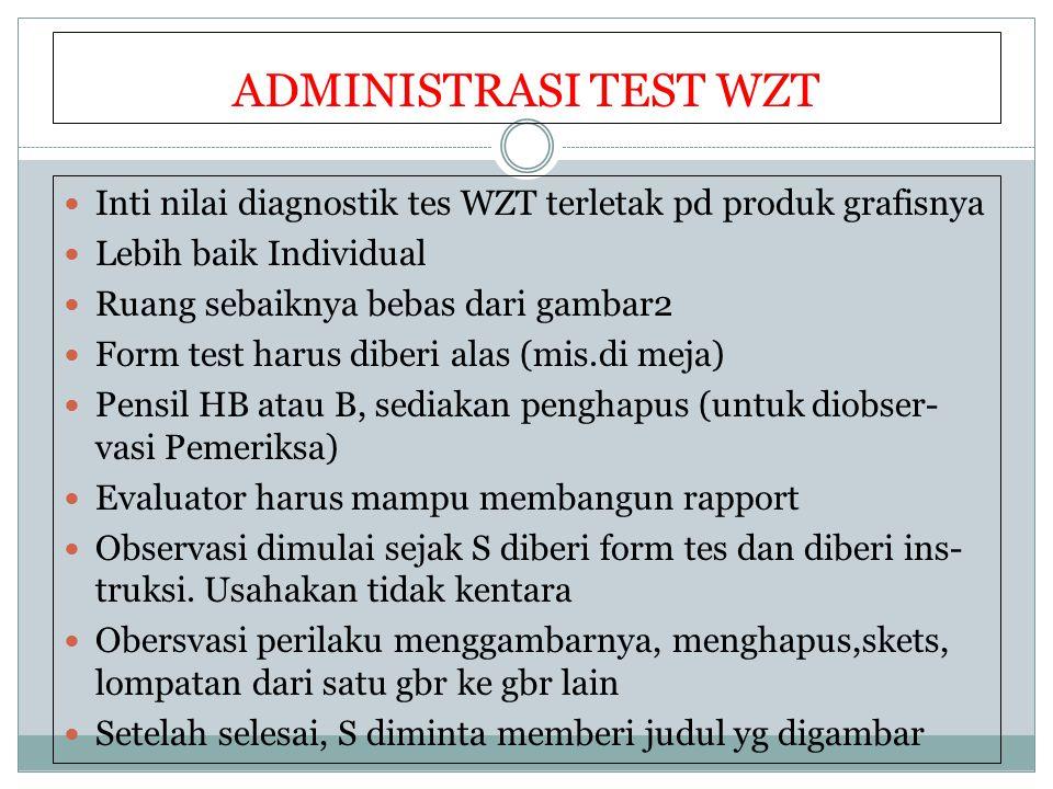 ADMINISTRASI TEST WZT Inti nilai diagnostik tes WZT terletak pd produk grafisnya. Lebih baik Individual.