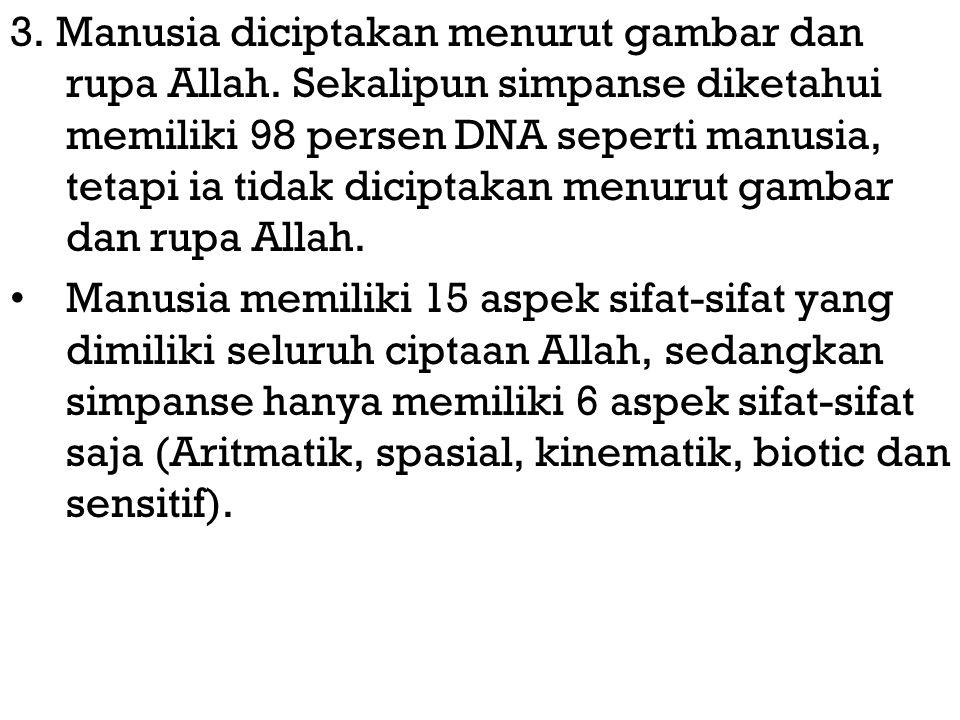 3. Manusia diciptakan menurut gambar dan rupa Allah