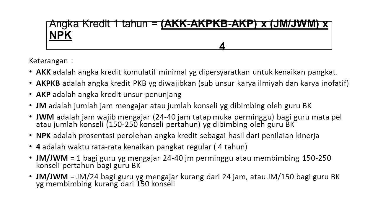 Angka Kredit 1 tahun = (AKK-AKPKB-AKP) x (JM/JWM) x NPK 4