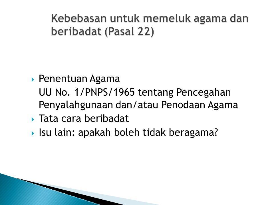 Kebebasan untuk memeluk agama dan beribadat (Pasal 22)