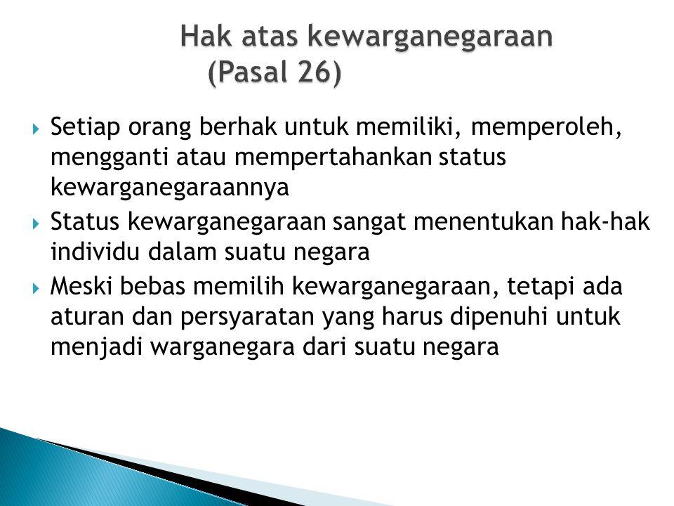 Hak atas kewarganegaraan (Pasal 26)