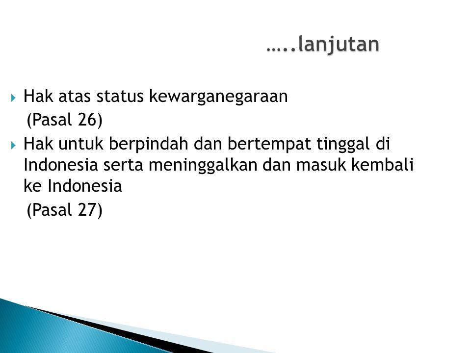 …..lanjutan Hak atas status kewarganegaraan (Pasal 26)