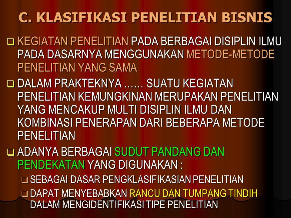 C. KLASIFIKASI PENELITIAN BISNIS