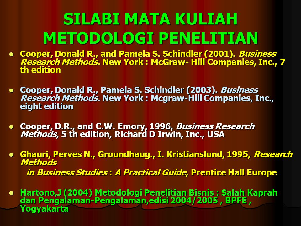 SILABI MATA KULIAH METODOLOGI PENELITIAN