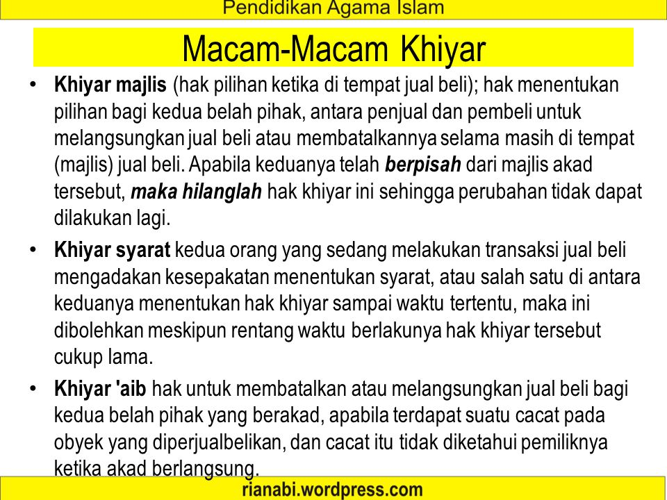 Macam-Macam Khiyar