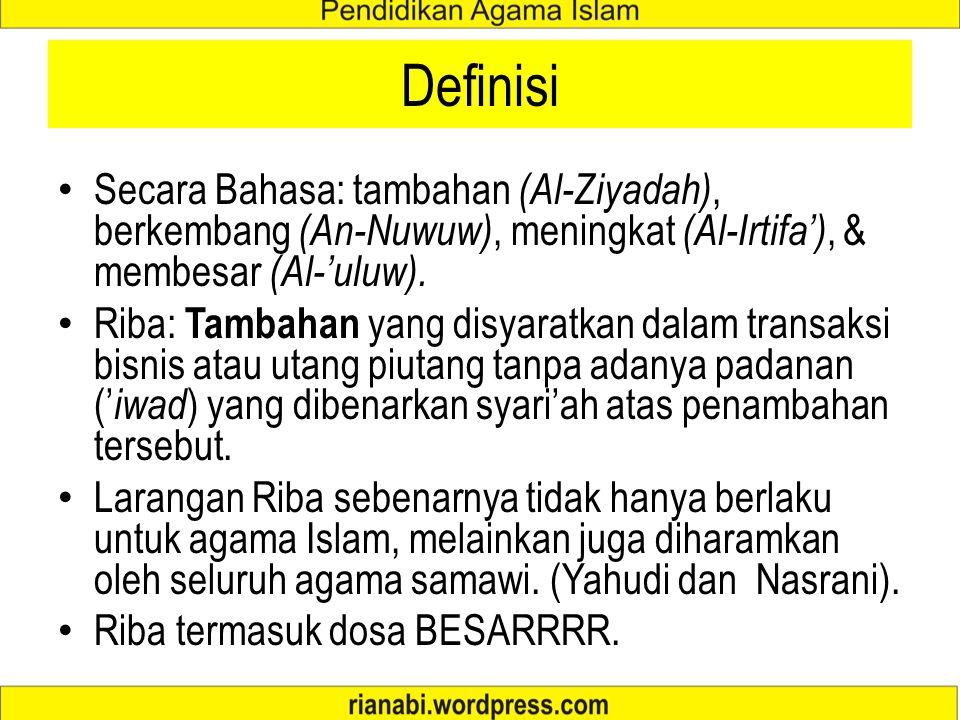 Definisi Secara Bahasa: tambahan (Al-Ziyadah), berkembang (An-Nuwuw), meningkat (Al-Irtifa'), & membesar (Al-'uluw).