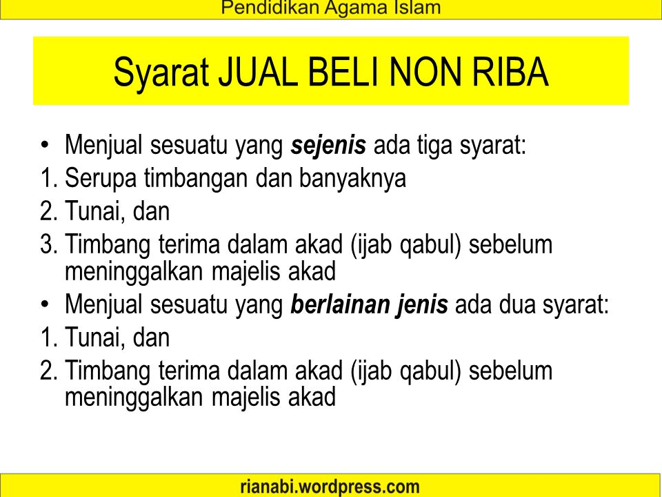 Syarat JUAL BELI NON RIBA