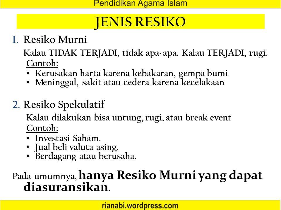 JENIS RESIKO Resiko Murni Resiko Spekulatif