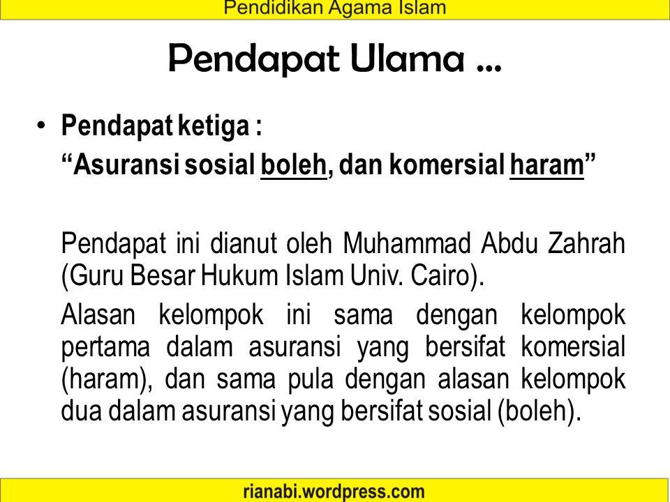 Pendapat Ulama … Pendapat ketiga :