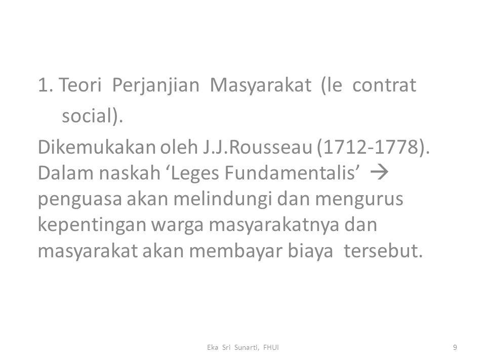 1. Teori Perjanjian Masyarakat (le contrat social).