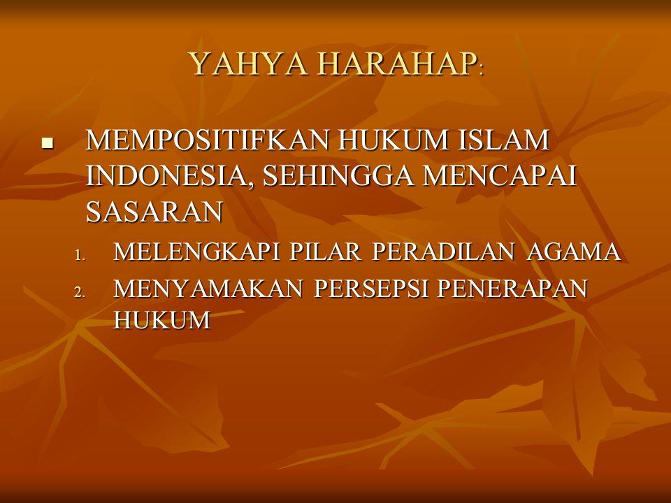 YAHYA HARAHAP: MEMPOSITIFKAN HUKUM ISLAM INDONESIA, SEHINGGA MENCAPAI SASARAN. MELENGKAPI PILAR PERADILAN AGAMA.