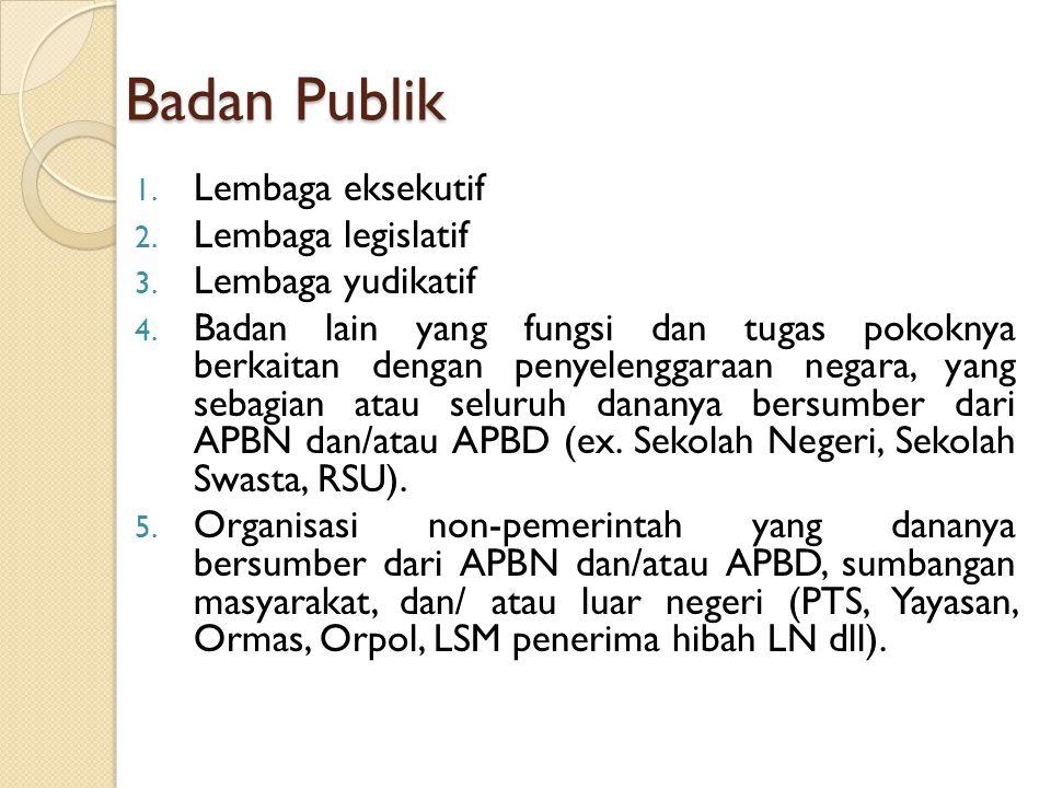 Badan Publik Lembaga eksekutif Lembaga legislatif Lembaga yudikatif
