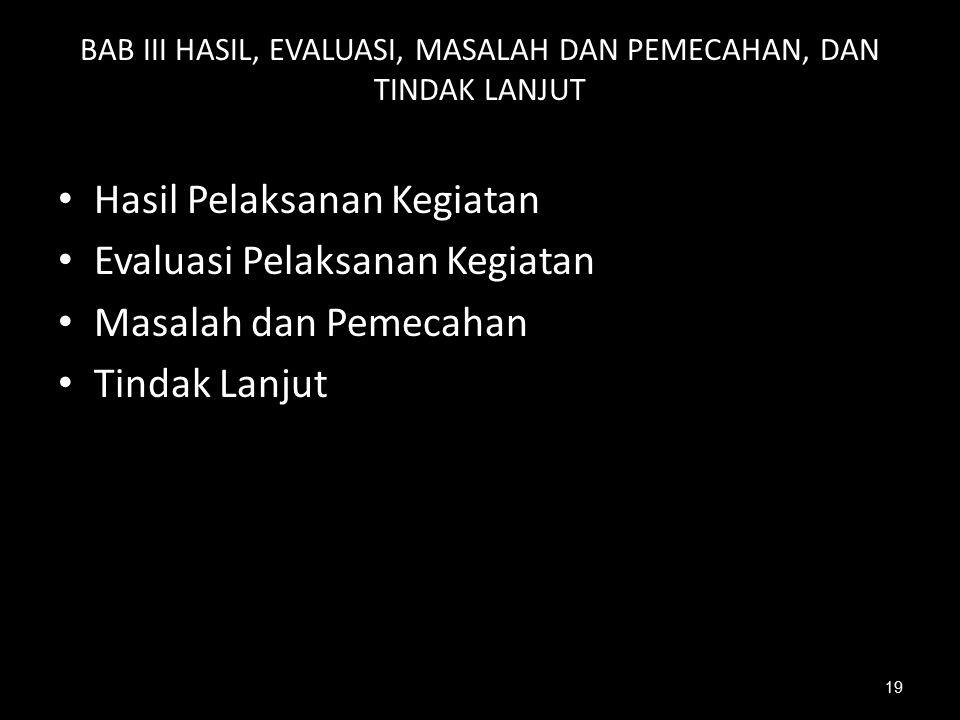 BAB III HASIL, EVALUASI, MASALAH DAN PEMECAHAN, DAN TINDAK LANJUT