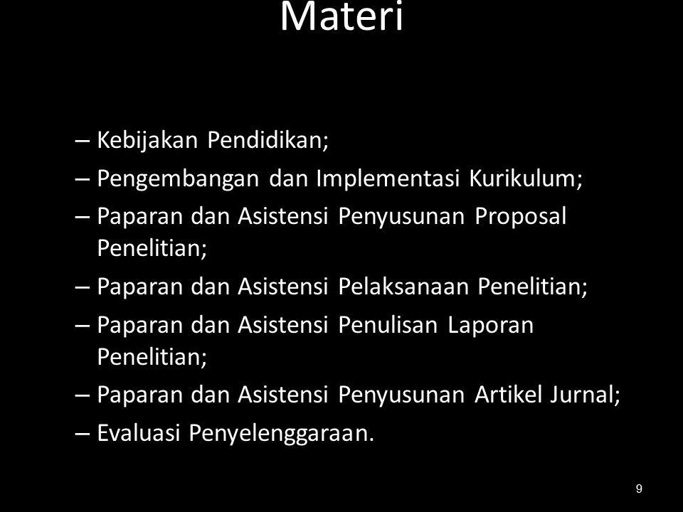 Materi Kebijakan Pendidikan; Pengembangan dan Implementasi Kurikulum;