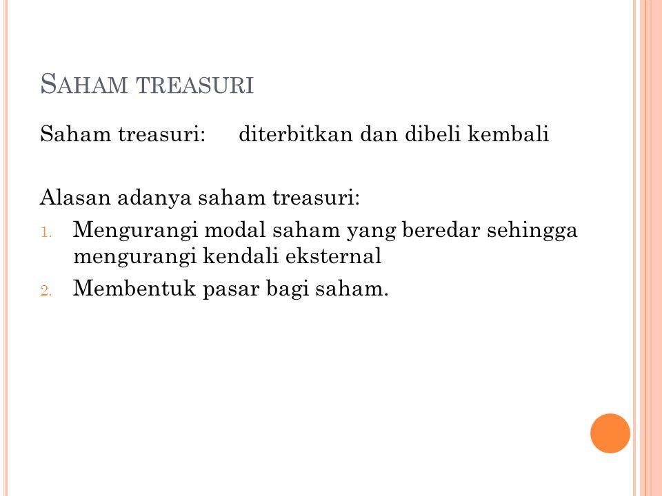 Saham treasuri Saham treasuri: diterbitkan dan dibeli kembali