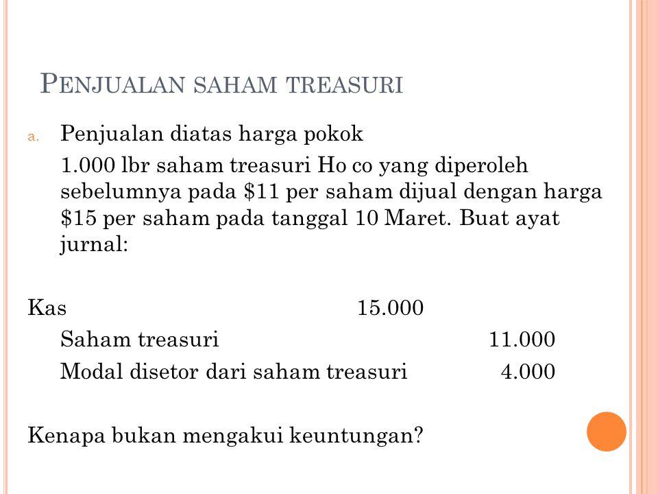 Penjualan saham treasuri