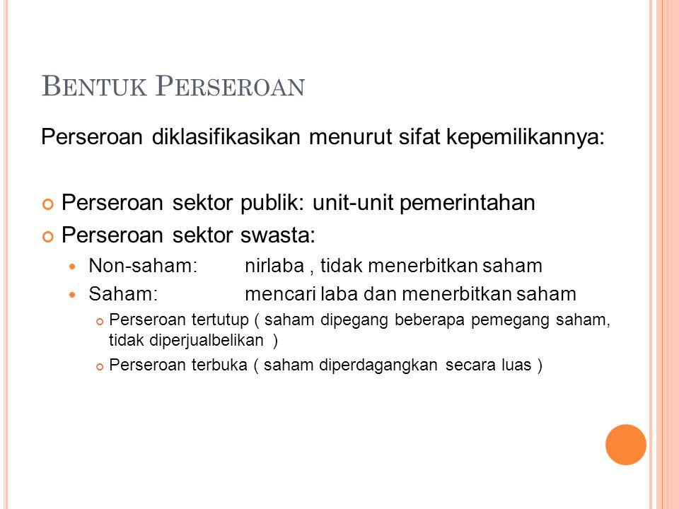 Bentuk Perseroan Perseroan diklasifikasikan menurut sifat kepemilikannya: Perseroan sektor publik: unit-unit pemerintahan.