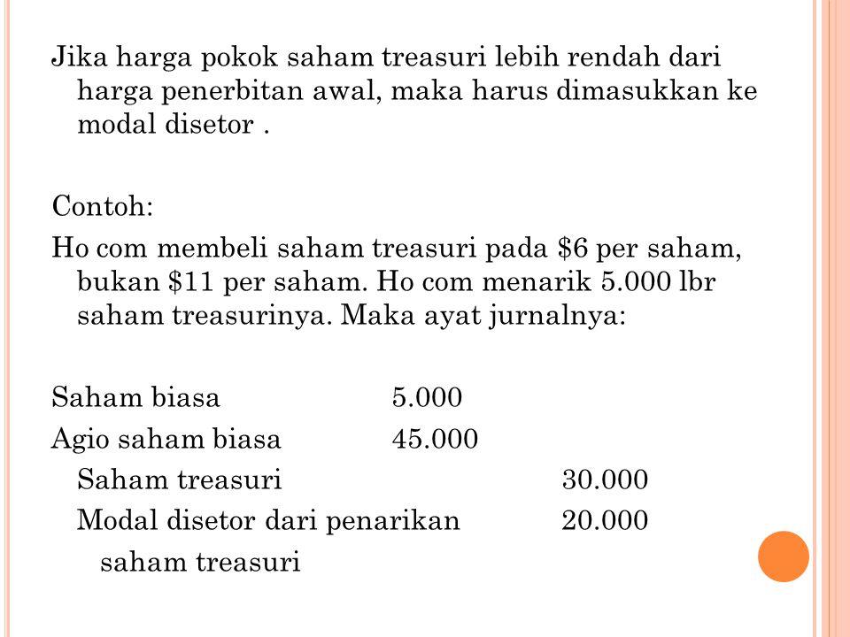 Jika harga pokok saham treasuri lebih rendah dari harga penerbitan awal, maka harus dimasukkan ke modal disetor .
