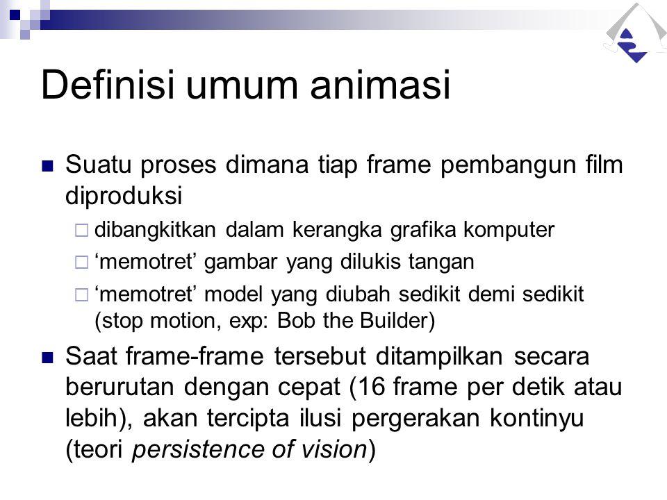 Definisi umum animasi Suatu proses dimana tiap frame pembangun film diproduksi. dibangkitkan dalam kerangka grafika komputer.