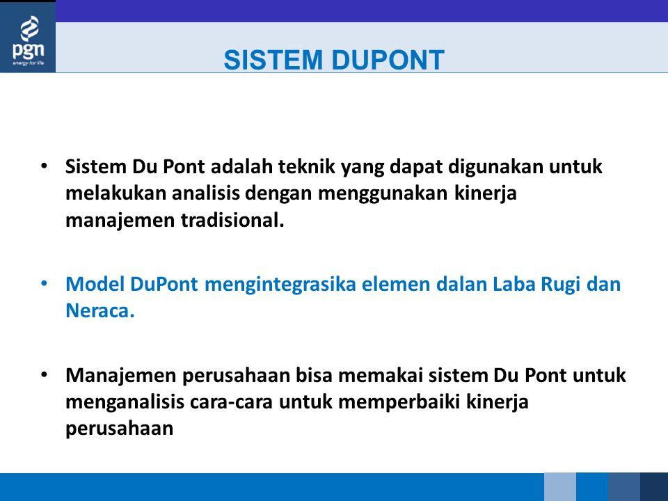 SISTEM DUPONT Sistem Du Pont adalah teknik yang dapat digunakan untuk melakukan analisis dengan menggunakan kinerja manajemen tradisional.