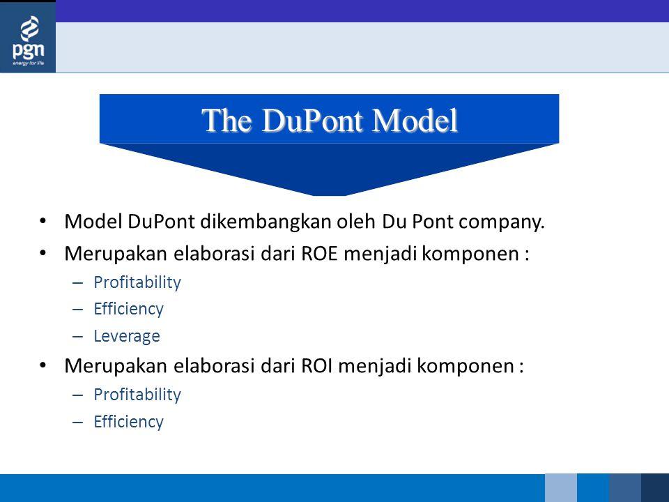 The DuPont Model Model DuPont dikembangkan oleh Du Pont company.