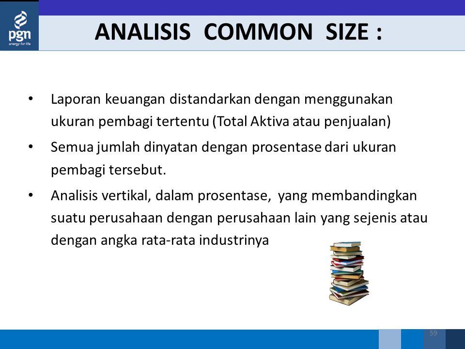 ANALISIS COMMON SIZE : Laporan keuangan distandarkan dengan menggunakan ukuran pembagi tertentu (Total Aktiva atau penjualan)