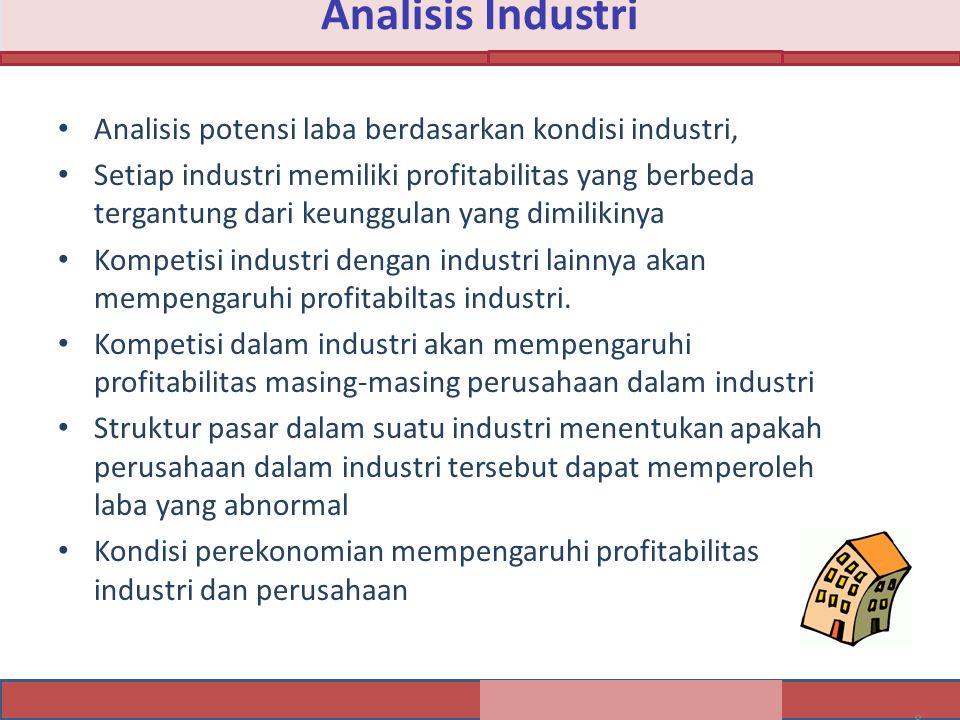 Analisis Industri Analisis potensi laba berdasarkan kondisi industri,