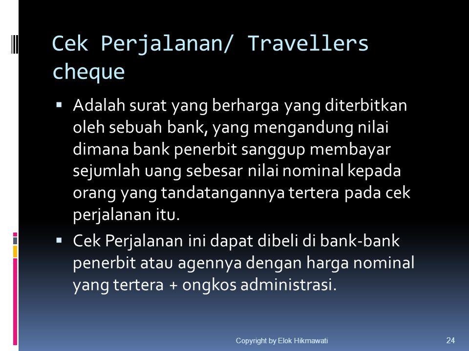 Cek Perjalanan/ Travellers cheque