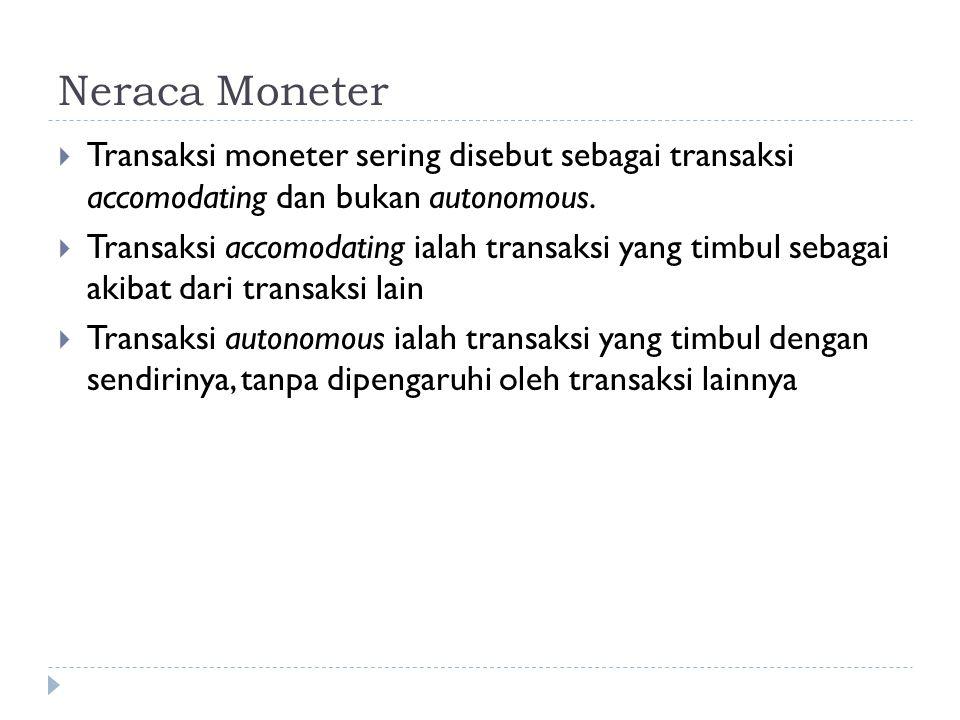 Neraca Moneter Transaksi moneter sering disebut sebagai transaksi accomodating dan bukan autonomous.