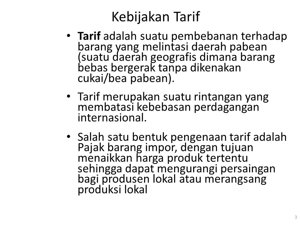 Kebijakan Tarif