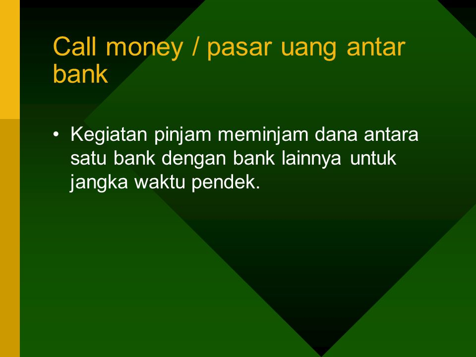 Call money / pasar uang antar bank