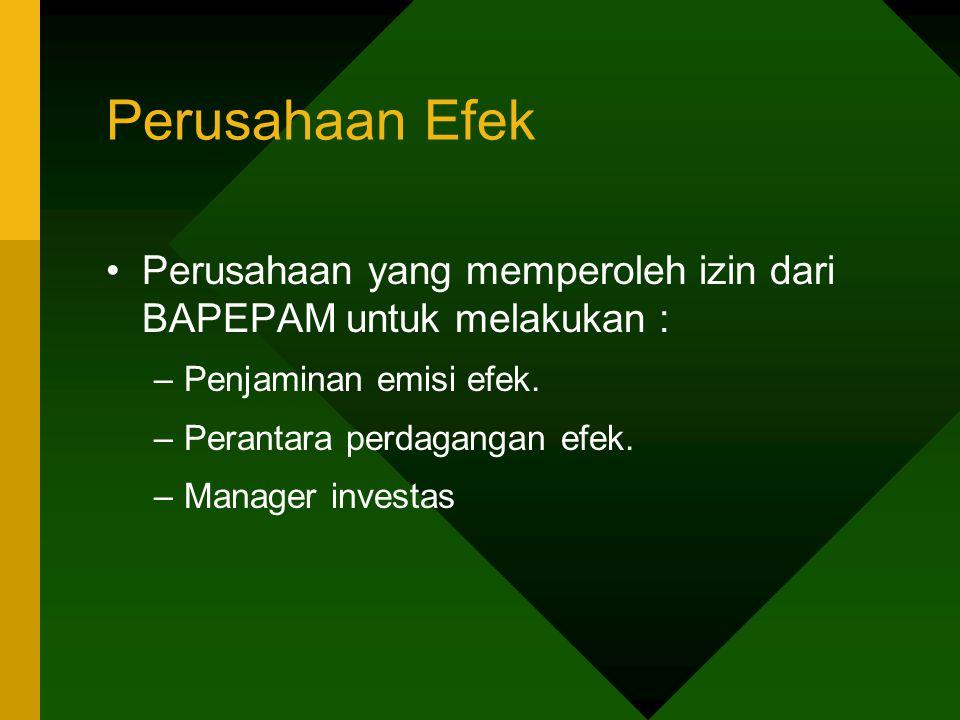 Perusahaan Efek Perusahaan yang memperoleh izin dari BAPEPAM untuk melakukan : Penjaminan emisi efek.
