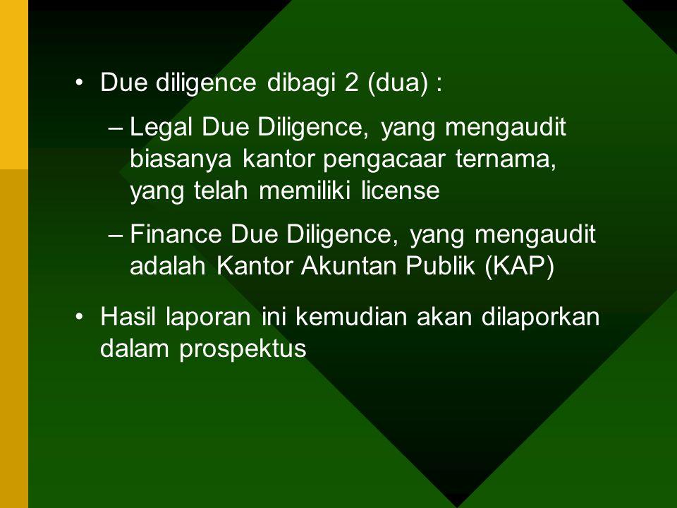 Due diligence dibagi 2 (dua) :