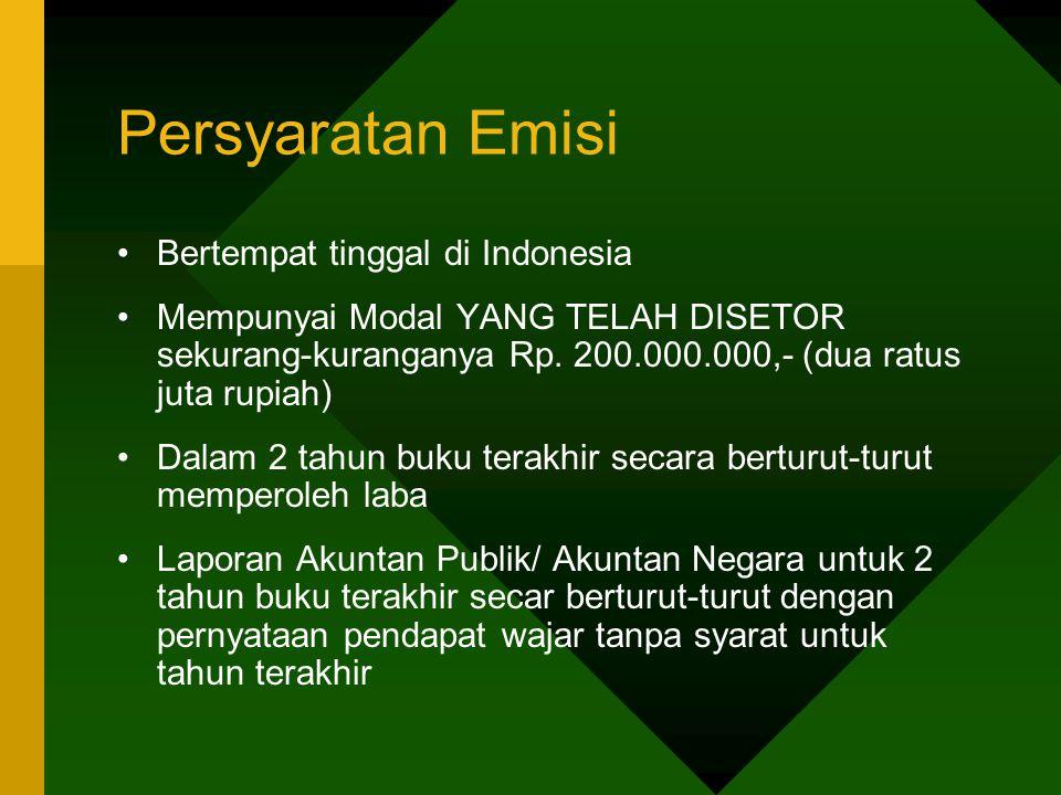 Persyaratan Emisi Bertempat tinggal di Indonesia