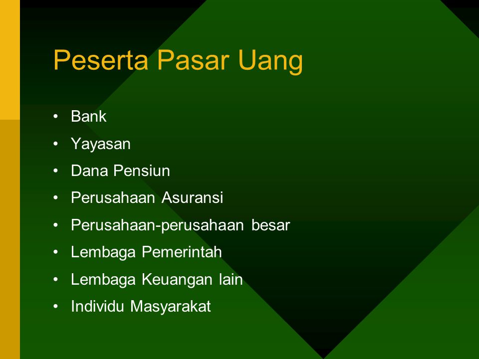 Peserta Pasar Uang Bank Yayasan Dana Pensiun Perusahaan Asuransi