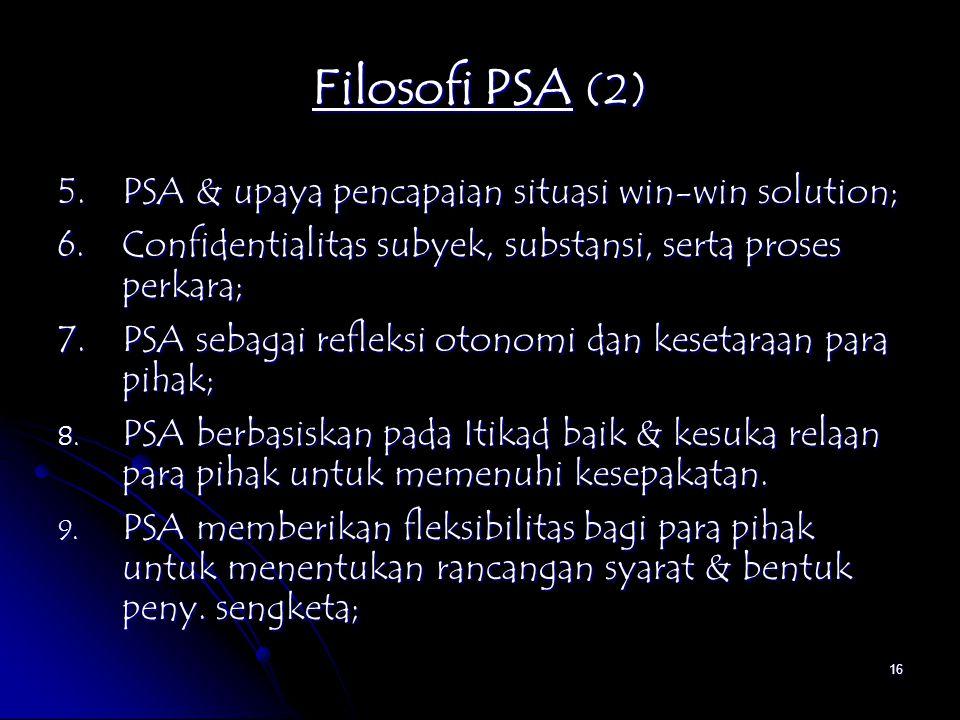 Filosofi PSA (2) 5. PSA & upaya pencapaian situasi win-win solution;