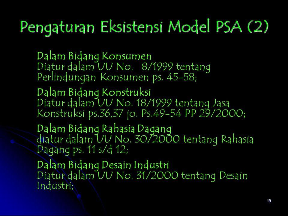 Pengaturan Eksistensi Model PSA (2)
