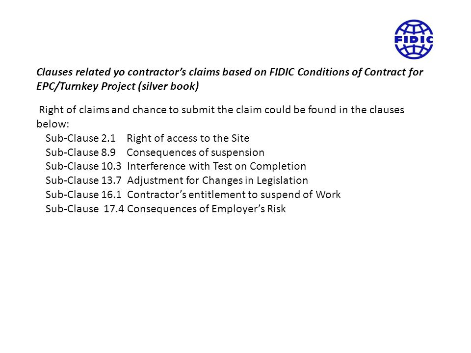 Clauses related yo contractor's claims based on FIDIC Conditions of Contract for EPC/Turnkey Project (silver book)