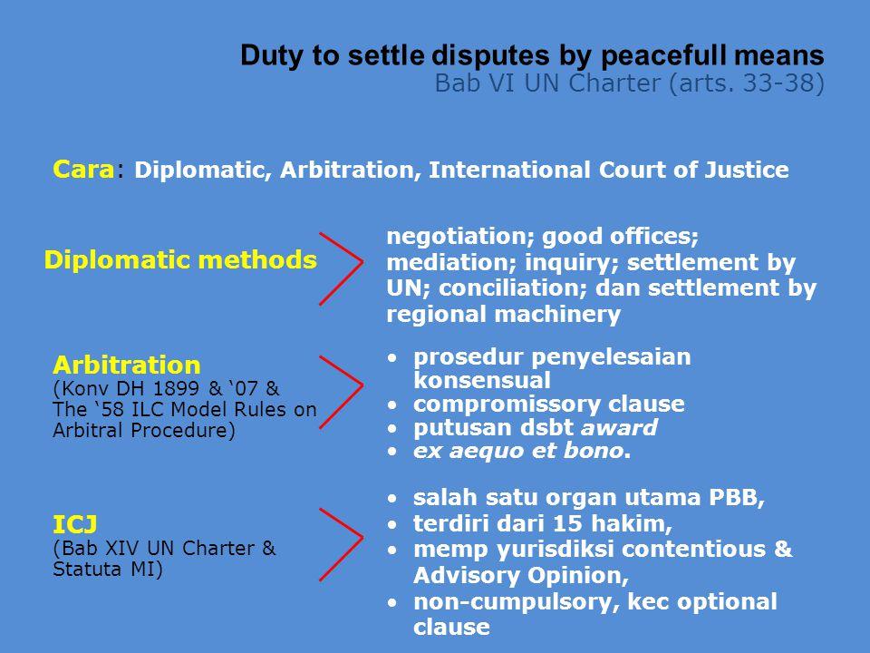 Cara: Diplomatic, Arbitration, International Court of Justice