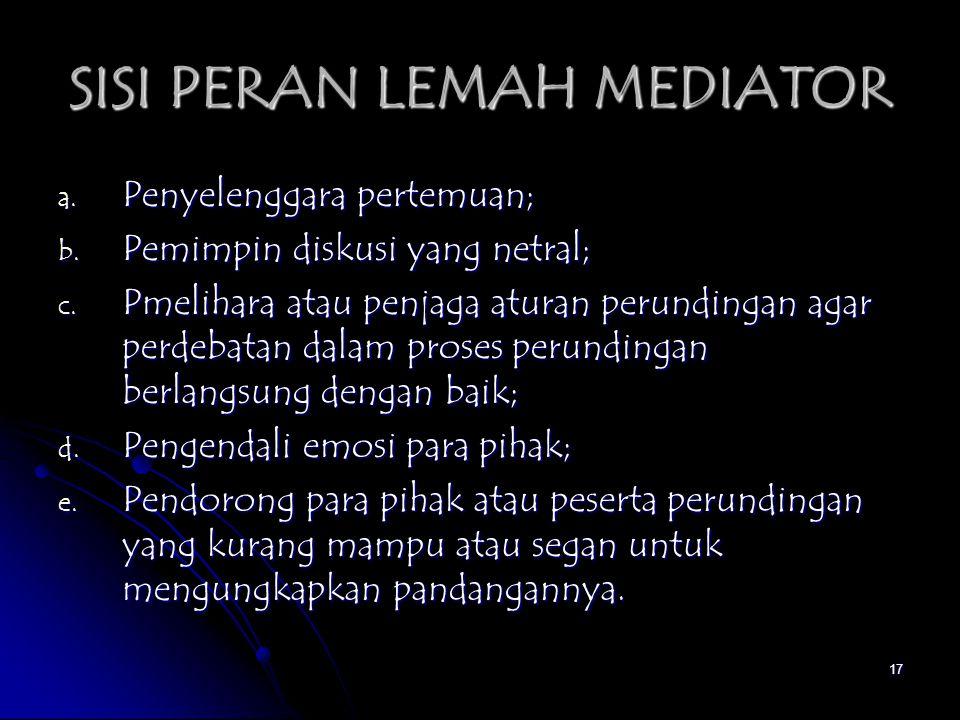 SISI PERAN LEMAH MEDIATOR