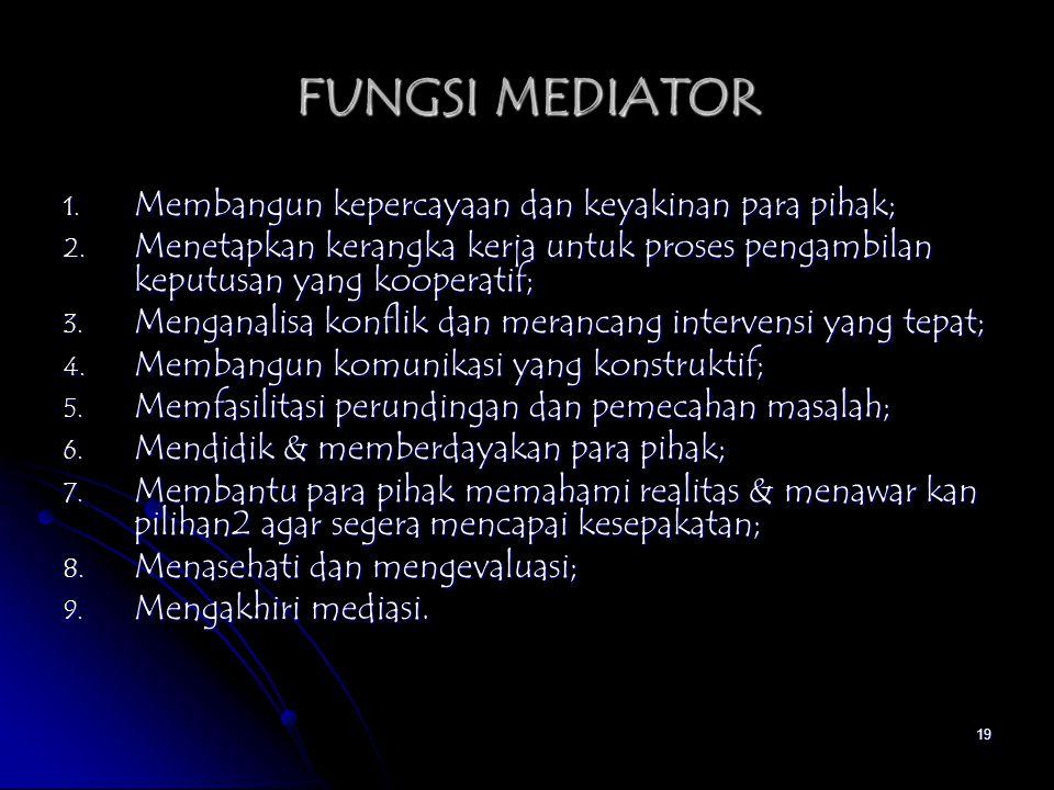 FUNGSI MEDIATOR Membangun kepercayaan dan keyakinan para pihak;