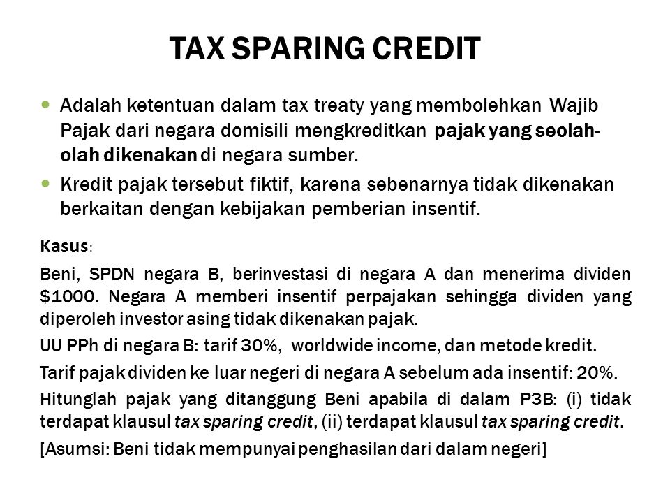 TAX SPARING CREDIT