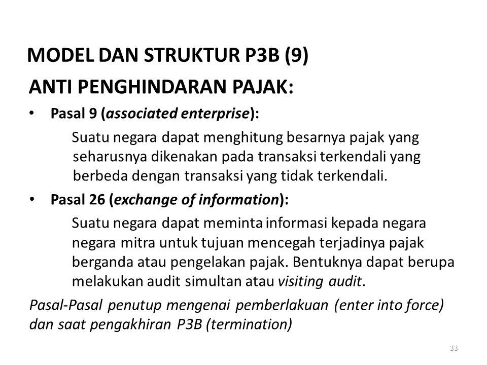 MODEL DAN STRUKTUR P3B (9) ANTI PENGHINDARAN PAJAK:
