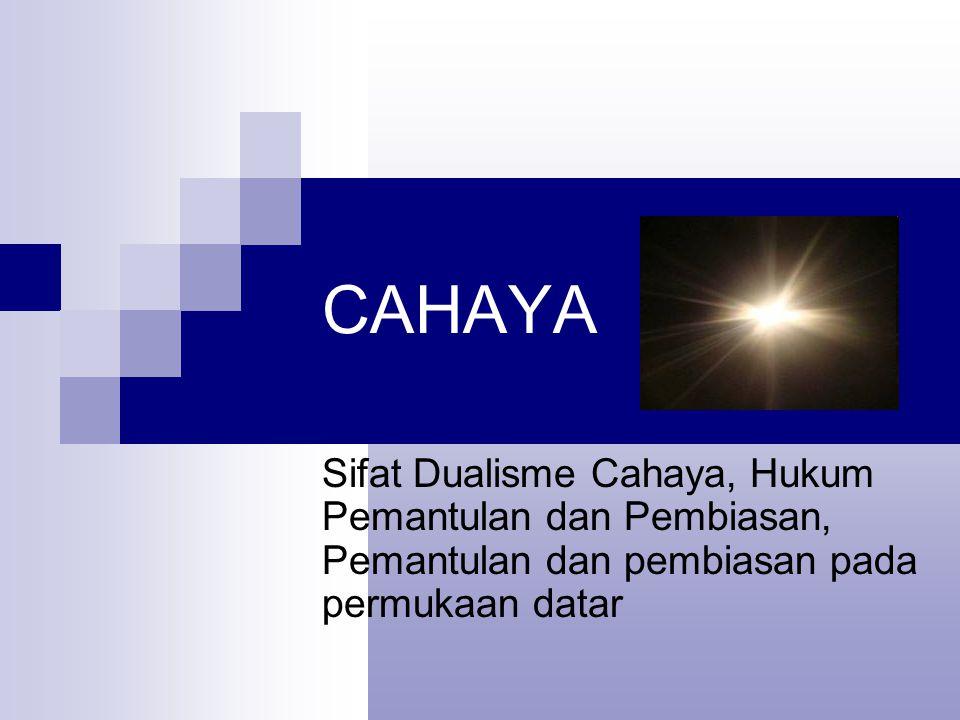 CAHAYA Sifat Dualisme Cahaya, Hukum Pemantulan dan Pembiasan, Pemantulan dan pembiasan pada permukaan datar.