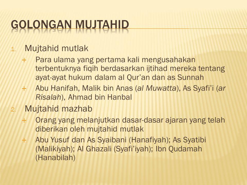 Golongan Mujtahid Mujtahid mutlak Mujtahid mazhab
